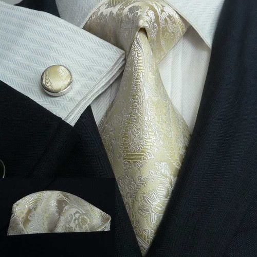 Gold with silver floral pattern necktie set.