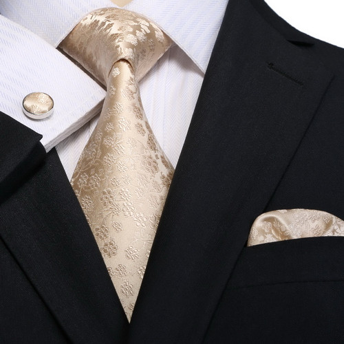 Gold with gold satin floral print necktie set.