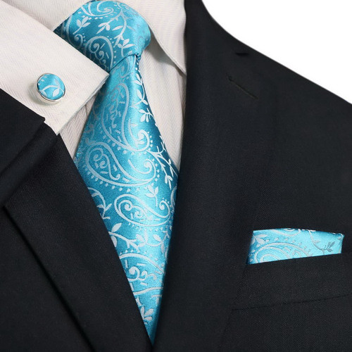 Turquoise blue with silver floral paisley pattern necktie set.