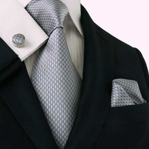 Gray with silver hounds-tooth pattern necktie set.
