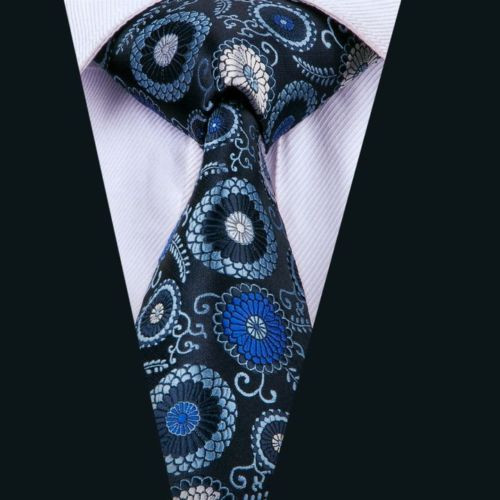 Navy blue with royal blue and sky blue circle pattern necktie.