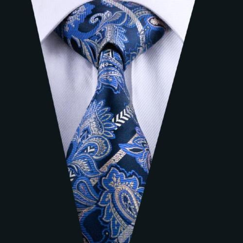 Navy blue with sky blue and gold paisley patterned necktie.