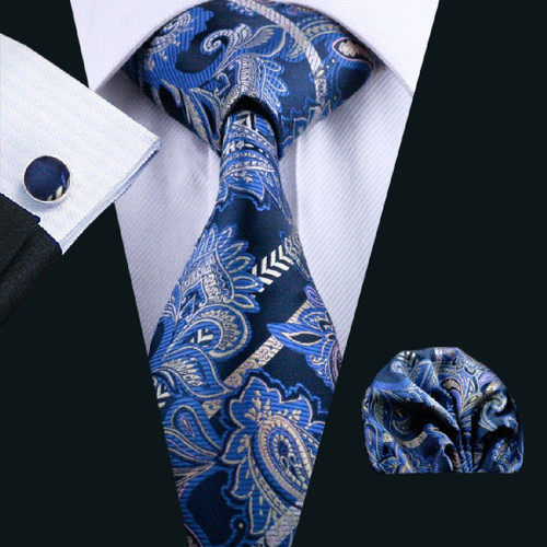 Navy blue with sky-blue and gold paisley pattern necktie set.