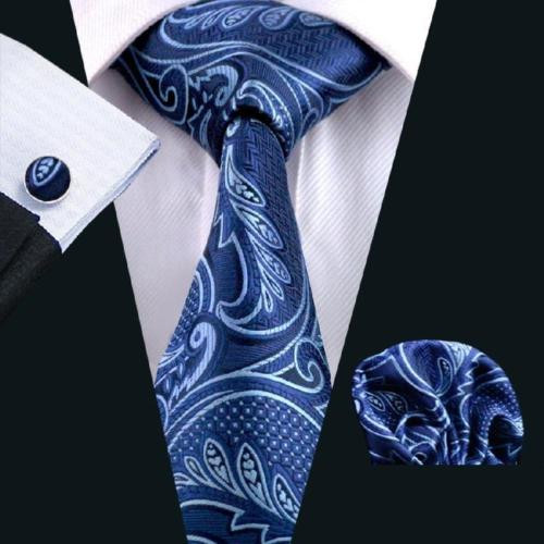 Navy with sky-blue paisley and floral patterned necktie set.