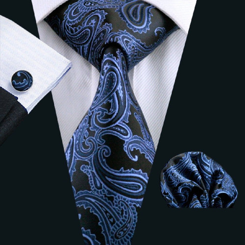 Black with sky-blue paisley pattern necktie set.