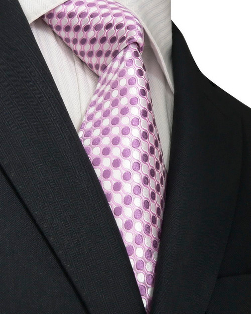Silver with lavender polka-dot pattern extra long neck tie set.