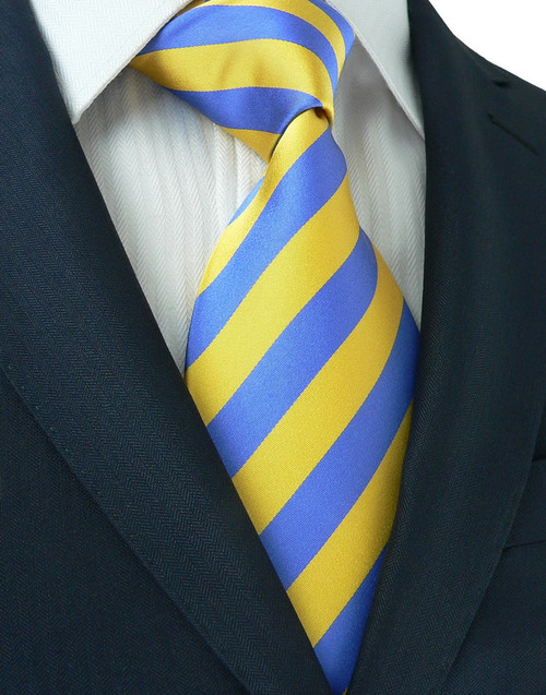 Blue with yellow stripe pattern extra long necktie.