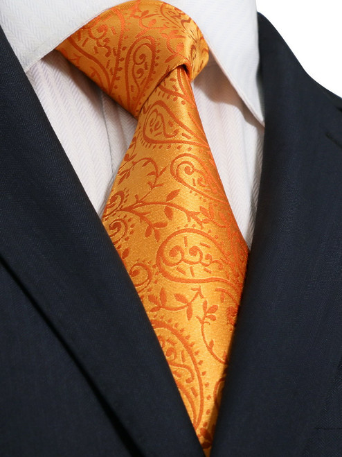 Orange with orange floral pattern extra long necktie.