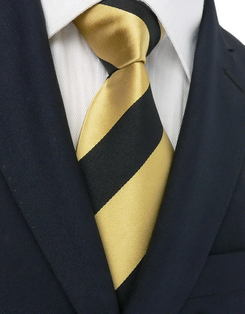 Black with gold stripe pattern extra long necktie.