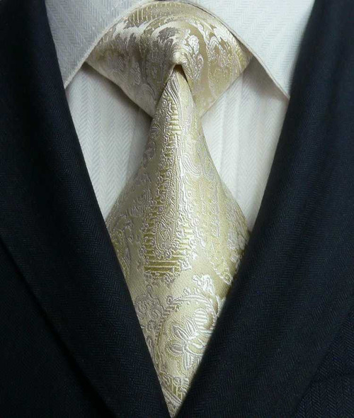 Beige with cream floral and paisley pattern extra long necktie.