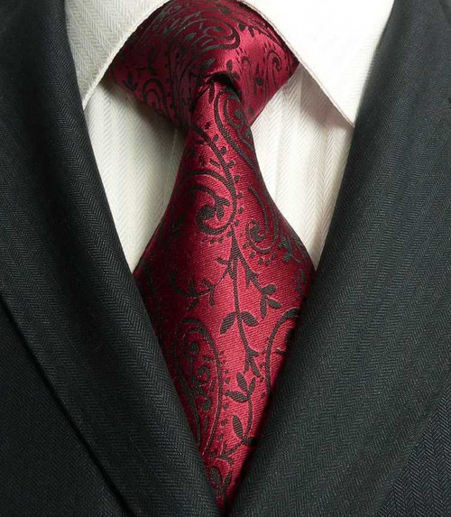 Burgundy with black floral pattern extra long neck tie.