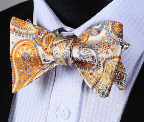 Gold, silver and bronze paisley bow tie set.