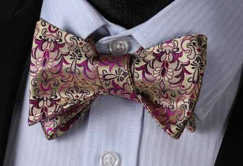 Gold with purple and black floral pattern bow tie set.