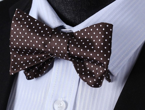 Chocolate brown with white polka-dot pattern bow tie set.