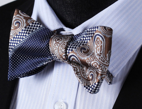 Brown paisley with navy blue polka-dot and navy blue and white checked pattern bow tie set.