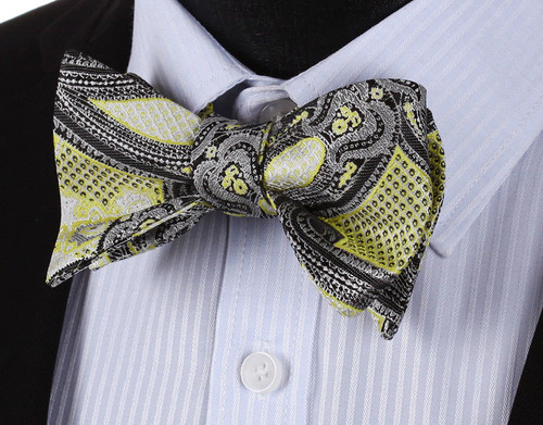 Yellow with black and silver paisley and polka-dot pattern bow tie set
