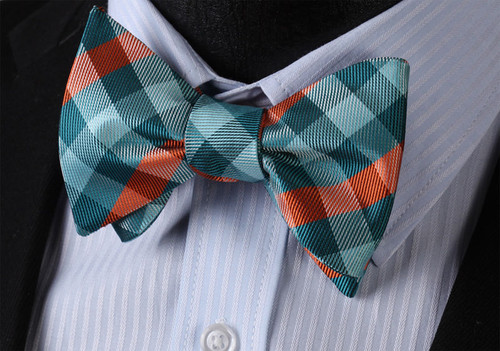 Aqua green with turquoise green and orange plaid pattern bow tie set.