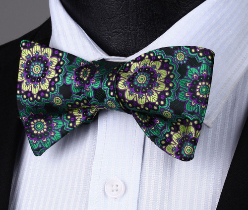Black with green, purple and gold floral pattern bow tie set.