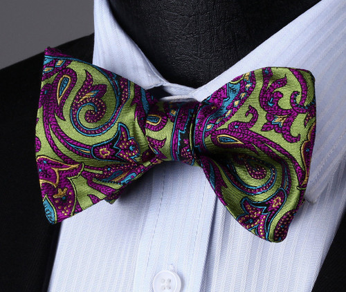 Olive green with purple and sky-blue paisley pattern bow tie set.