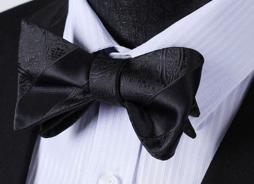 Black with black stripe and black floral pattern bow tie set.