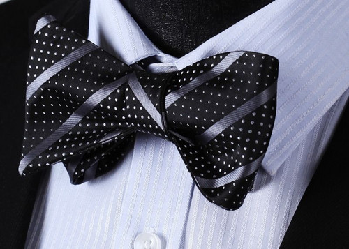 Black with silver stripe and silver polka-dot pattern bow tie set.