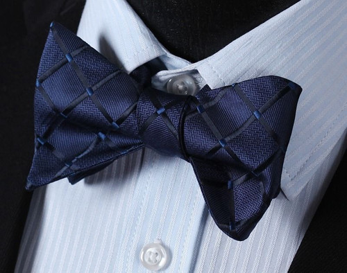 Navy blue with blue check pattern bow tie set.
