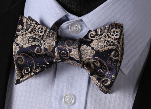 Navy blue with tan and silver paisley pattern bow tie set.
