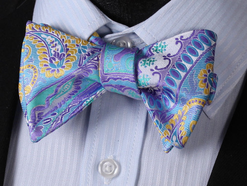 Silver with purple, blue and gold floral and paisley pattern bow tie set.