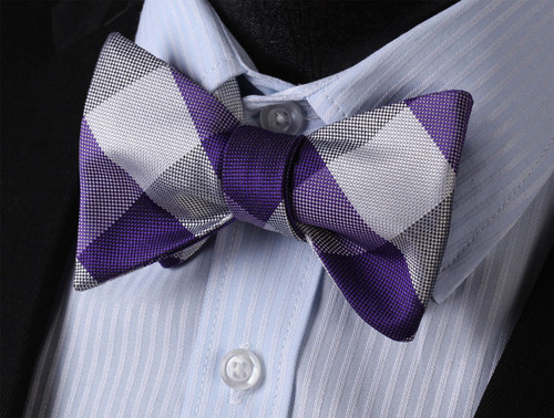 Purple and Grey plaid pattern bow tie set.