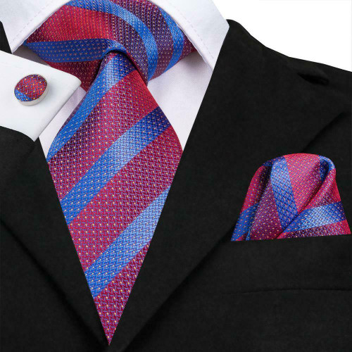 Red and blue stripe with micro-polka-dot pattern