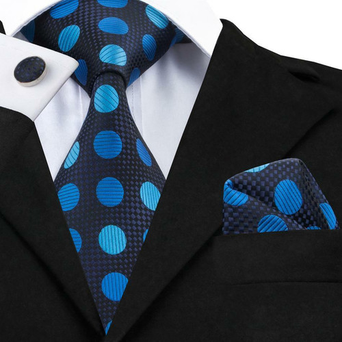 Black on black check accented with blue and light blue circles with black pinstripe pattern