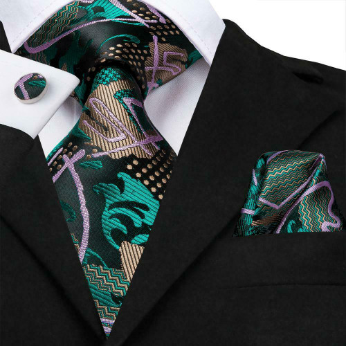 Black with green, purple and bronze geometric pattern