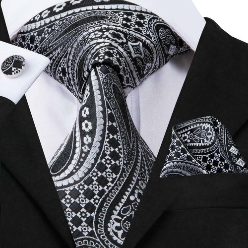 Black with silver paisley geometric pattern