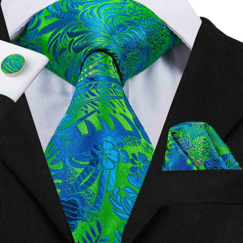Turquoise blue and green floral pattern