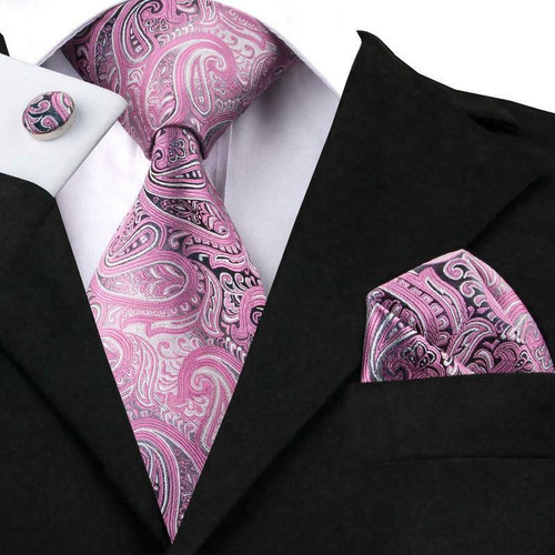 Pink on pink with silver paisley pattern
