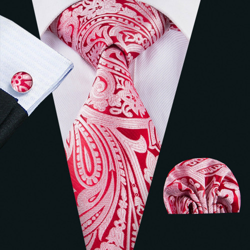 Red with silver paisley geometric pattern