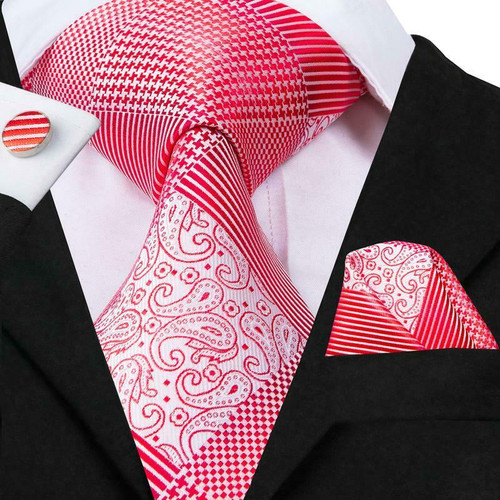 Red with white striped houndstooth and paisley pattern