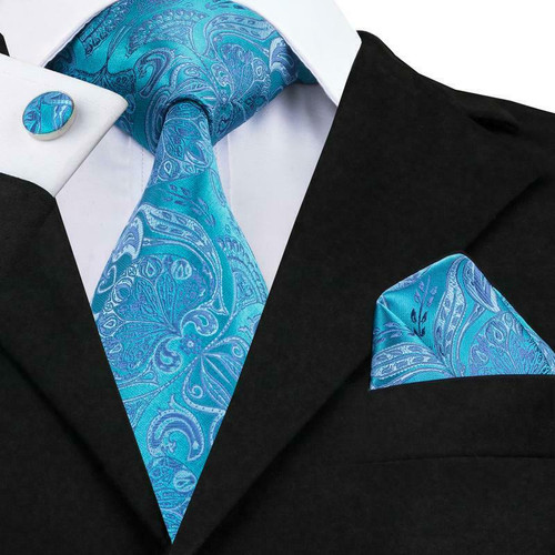 Turquoise and silver paisley and floral pattern
