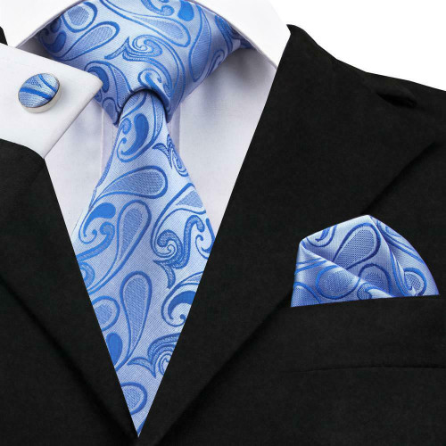 Powder Blue with sky Blue paisley pattern