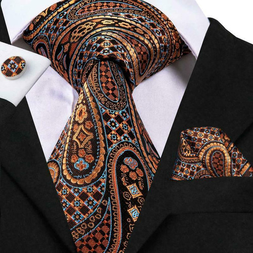 Brown Orange Sky Blue paisley checked and geometric pattern