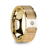 David 14k Yellow Gold Men's Wedding Band with Ash Wood Inlay & Diamond