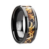 Galba Black Ceramic Men's Wedding Band with Leaves Grassland Camouflage Inlay