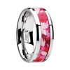Anchises Tungsten Women's Wedding Band with Pink & White Camouflage Inlay