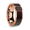 Marcus 14k Rose Gold Men's Wedding Band with Bubinga Wood Inlay