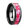 Euainetos Black Ceramic Women's Wedding Band with Pink and White Camouflage Inlay