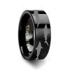 Athaulf Shark Sea Print Pattern Engraved Black Tungsten Wedding Band
