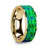 Demetrios 14k Yellow Gold Wedding Band with Emerald Green & Sapphire Blue Opal Inlay