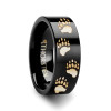 Agis Bear Paw Print Engraved Black Tungsten Wedding Band
