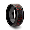 Maurizio Black Ceramic Wedding Band with Black & Red Carbon Fiber Inlay