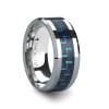 Kriton Tungsten Carbide Wedding Band with Black & Blue Carbon Fiber Inlay